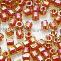 1.5mm方管日本珠-黃水仙內鑲風信子紅色-5g