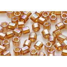 3mm方管日本珠彩虹黃玉色--10g