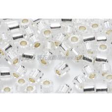 3mm方管日本珠透明水晶灌銀色--10g