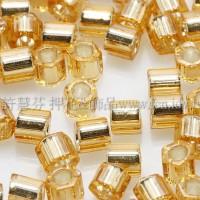 3mm方管日本珠黃水晶灌銀色--10g
