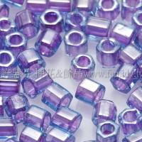 3mm方管日本珠水藍內鑲紫色--10g