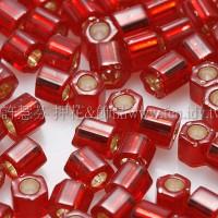 3mm方管日本珠酒紅內灌銀色--10g