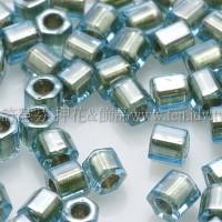 3mm方管日本珠水藍內鑲金色--10g