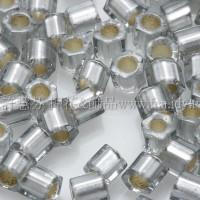 3mm方管日本珠灰鑽石灌銀色--10g