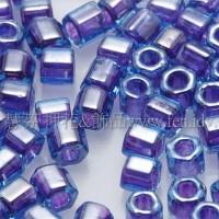 3mm方管日本珠水藍內鑲紫羅蘭色--10g