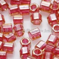 3mm方管日本珠黃玉內鑲紅石榴色--10g