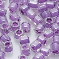 3mm方管日本珠水晶內鑲紫藤色--10g