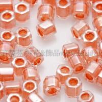 3mm方管日本珠水晶內鑲豔橙色--10g