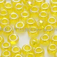3mm圓管日本珠透明彩虹檸檬黃色--10g