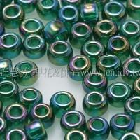 3mm圓管日本珠透明彩虹翡翠綠色--10g
