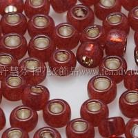 3mm圓管日本珠牛奶紅石榴內鑲金色--10g