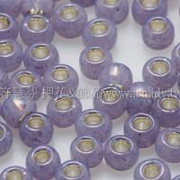 3mm圓管日本珠牛奶薰衣草內鑲金色--10g