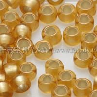 3mm圓管日本珠霧面黃玉內灌銀色--10g