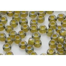 3mm圓管日本珠灰鑽光內鑲不透明中國黃色--10g