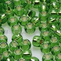 3mm圓管日本珠翠綠內灌銀色--10g