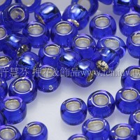 3mm圓管日本珠深藍內灌銀色--10g