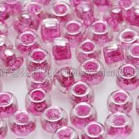 3mm圓管日本珠七彩水晶內鑲桃紅色--10g