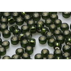 3mm圓管日本珠深黃綠內灌銀色--10g