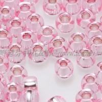 3mm圓管日本珠粉紅灌銀色--10g