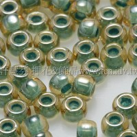 3mm圓管日本珠黃玉內鑲薄荷綠色--10g