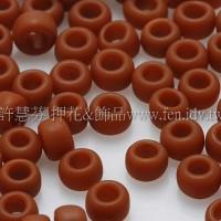 3mm圓管日本珠不透明磚紅色--10g