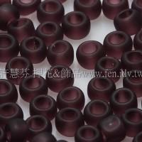 3mm圓管日本珠透明霧面深紅紫色--10g