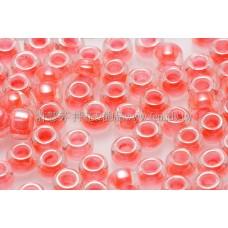 3mm圓管日本珠亮彩螢光鮭魚紅色--10g