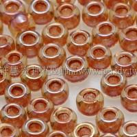3mm圓管日本珠黃水仙內鑲不透明磚紅色--10g
