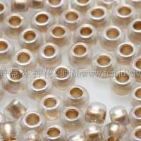 3mm圓管日本珠水晶透明彩虹金色--10g