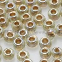 3mm圓管日本珠黃水仙透明彩虹金色--10g