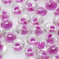 3mm包包日本珠-水晶內鑲不透明紫紅色-10g