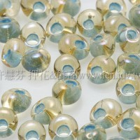 3mm包包日本珠-彩虹黃水晶內鑲海洋泡泡色-10g