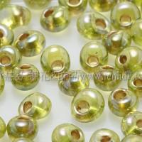 3mm包包日本珠-翠綠橄欖透明彩虹金色-10g