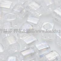 4mm方管日本珠透明彩虹水晶色--10g
