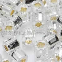 4mm方管日本珠水晶內鑲銀色--10g
