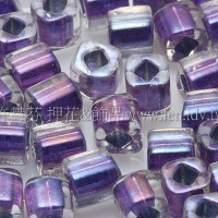 4mm方管日本珠七彩水晶內鑲金屬紫色--10g