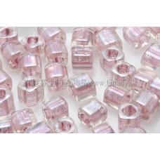 4mm方管日本珠七彩水晶光內鑲玫瑰金色--10g