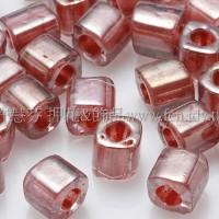4mm方管日本珠-亮光水晶光內鑲紫紅玫瑰色-10g