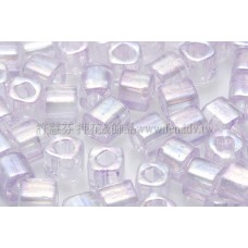 4mm方管日本珠-七彩水晶內鑲柔嫩紫色-10g