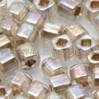 4mm方管日本珠-水晶透明彩虹金色-10g