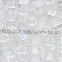 3mm方管日本珠透明彩虹水晶色--10g