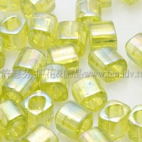 3mm方管日本珠透明彩虹萊姆綠色--10g