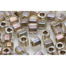 3mm方管日本珠七彩水晶光內鑲金色--10g