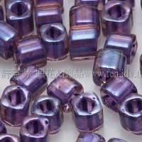 3mm方管日本珠水蜜桃光內鑲不透明紫色--10g