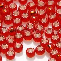 2mm日本珠洋紅色玻璃內鑲-紅金色--10g