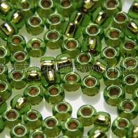 2mm日本珠葉綠色玻璃內鑲-綠金色--5g
