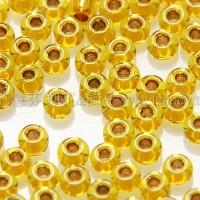 2mm日本珠月光黃色玻璃內鑲-金色--5g