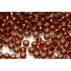 2mm日本珠透明-茶水晶混桔金色--10g