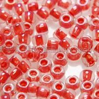 2mm日本珠亮淺灰色玻璃內鑲-豔紅色--10g
