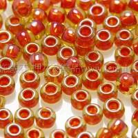 2mm日本珠卡其黃色玻璃內鑲-菊紅色--10g